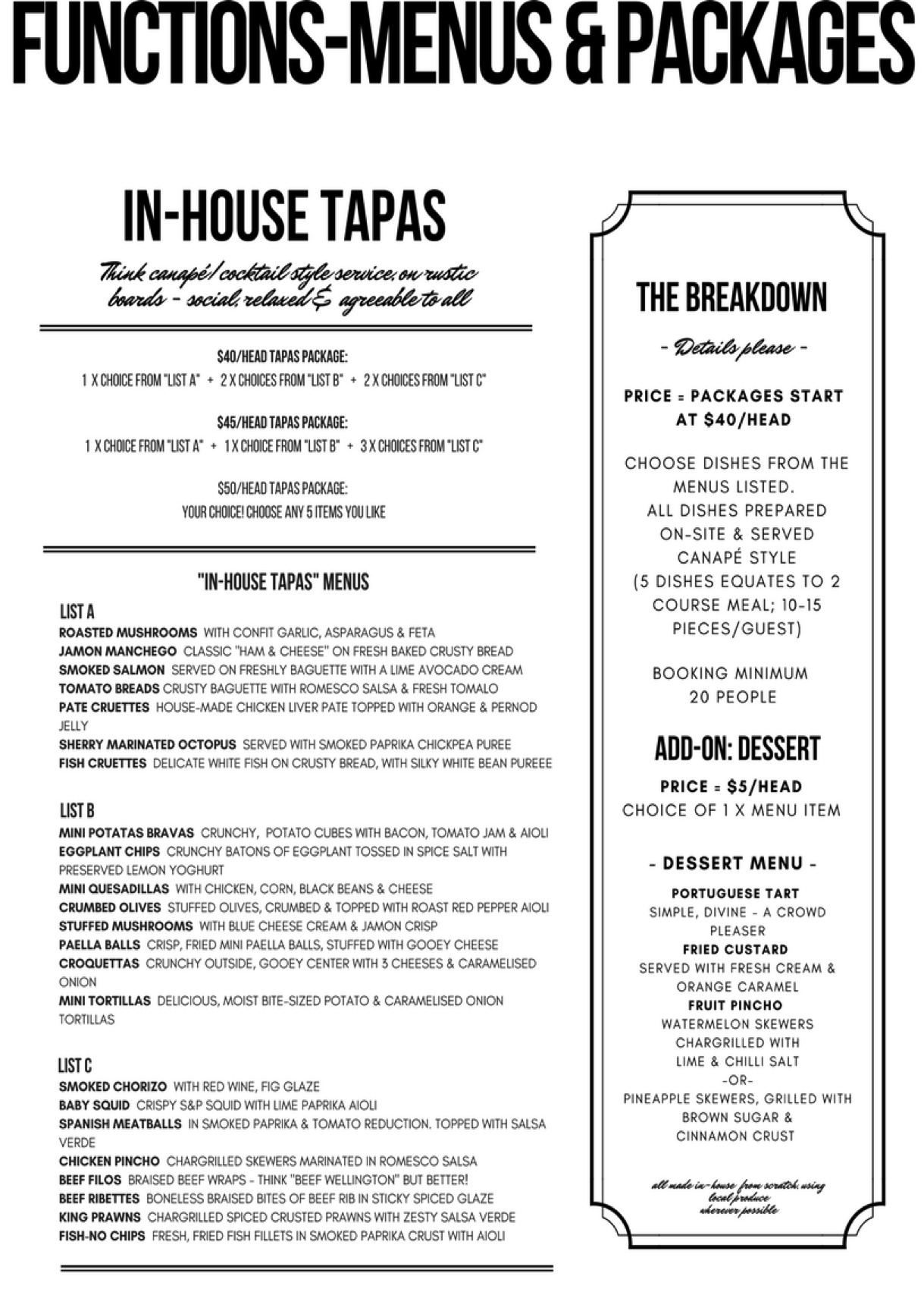 in house tapas